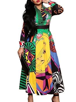 Fashion Printed Women Long Sleeve Maxi Dress