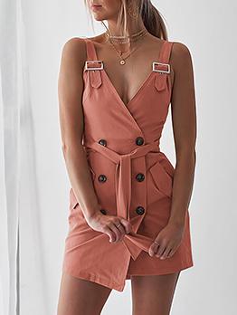 Double-breasted V Neck Pencil Wrap Sleeveless Dress