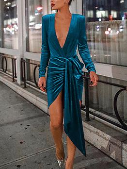 V-neck Asymmetrical Draping Velvet Long Sleeve Slit Dress