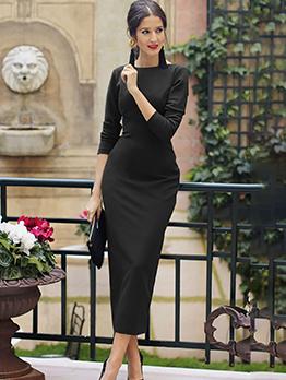 Backless Button Up Long Sleeve Slit Dresses