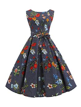 Smart Waist Floral Polka Dots Sleeveless Vintage Dress