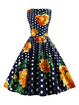Floral Polka Dots Tie-Wrap Vintage Sleeveless Dress