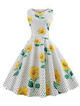 Vintage Floral Polka Dots Tie-wrap Sleeveless Dress