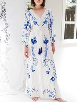 Boutique V Neck Tassels Boho Embroidery Maxi Dress