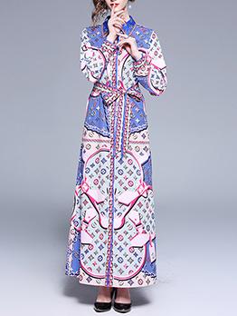 Fashion Printed Binding Bow Turndown Collar Maxi Dresses