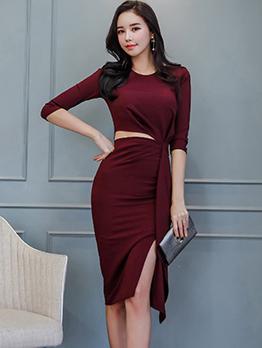 Korean Ruffle Slit Bodycon Ladies Dress