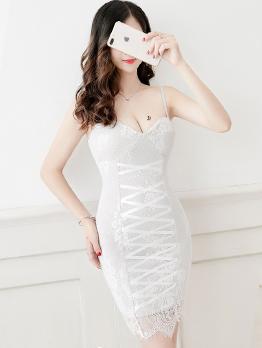 Night Club Low-cut Lace Backless Bodycon Dress