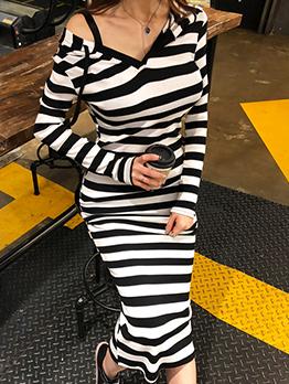 Casual Striped Color Block Black Long Sleeve Hoodie Dress