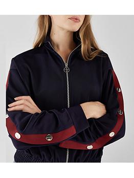 Fashion Stand Neck Button Longline Colorblock Coat