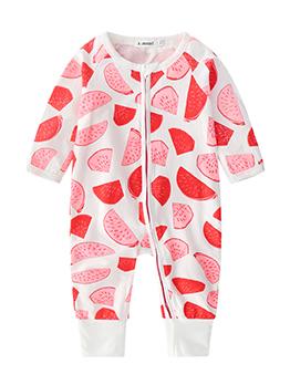 Casual Printed Crew Neck Baby Sleepsuits