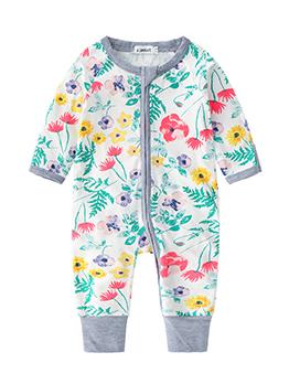 Wholesale7 Printed Crew Neck Baby Sleepsuits