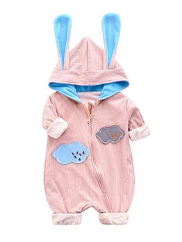 Cute Cloud Patch Hooded Zipper Baby Sleepsuits