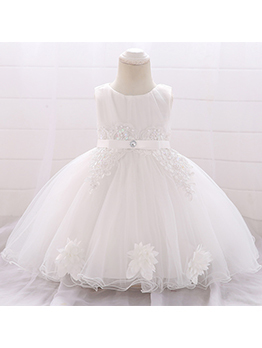 Lace Patchwork Gauze Applique Wedding Dresses For Girls