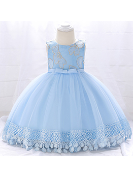 Lace Patchwork Gauze Binding Bow Girls Party Dresses