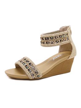 Slipsole Sequined Round Toe Wedge Zipper Gladiator Sandals