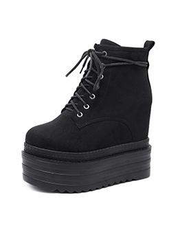 Stylish Lace Up Black Platform Wedge Boots