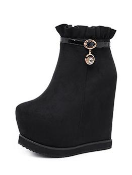 Chic Zipper Diamond Ruffles Platform Wedges Boots