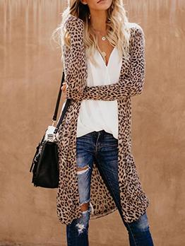 Trendy Animal Printed Casual Long Coat