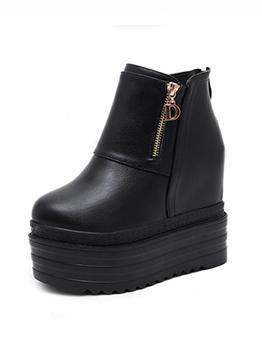 Simple Design Zipper Wedges Platform Boots