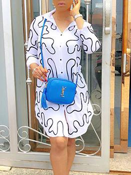 Causal Printed Beaded Spread Neck Shirt Dresses