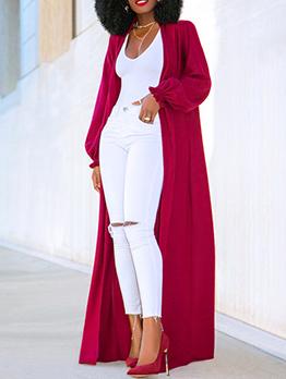 Euro Solid Long Sleeve Knit Long Coat For Women