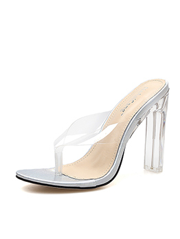 Sexy Clear Heel Flip Flop Sandals