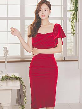 Flare Sleeve One Shoulder Velvet Solid Cocktail Dress