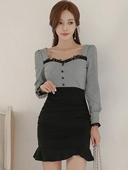 Lace Detail Contrast Color Ruffle Bodycon Dress