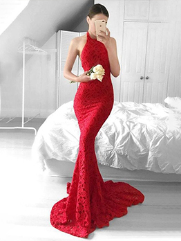 Sexy Backless Halter Lace Red Halter Prom Dress