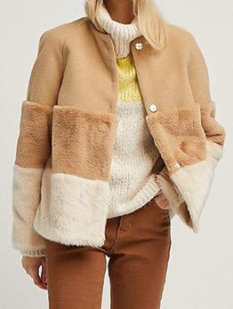 Turndown Neck Contrast Color Faux Fur Short Coat