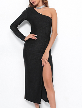 Sexy Inclined Shoulder Fitted Split Hem Maxi Dress