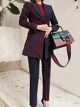Striped Patchwork Lapel OL Woman Suits