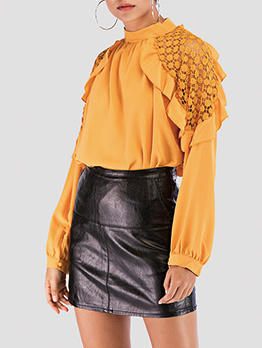 Crew Neck Hook Flower Chiffon Blouse