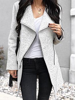 Winter Irregular Zipper Woolen Long Coat