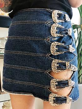 Hollow Out Belt Buckle High Waist Denim A-Line Skirt