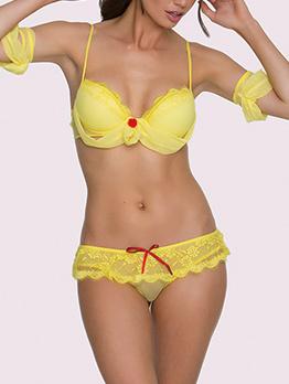 Captivating Gauze Lace Up Bra Sets For Women