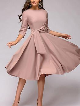 Crew Neck Large Hem Elegant Dresses