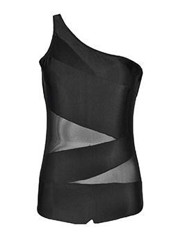 Inclined Shoulder Sleeveless Black Swimsuit