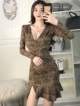 Sexy Ruffle V-neck Leopard Print Dress