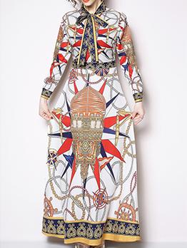 Binding Bow Print Vintage Maxi Dress