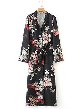 Turndown Collar Tie-wrap Flower Print Dress