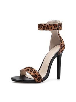 Leopard Print Ankle Straps Thin Heel Sandals
