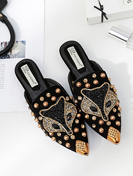 Chic Beading Slip On Pointed Mules Flats