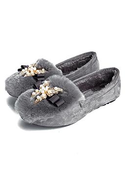 Winter Fur Diamond Fur Flats