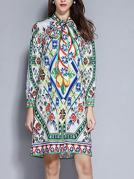 Bow Neck Printed Loose Long Sleeve Dress