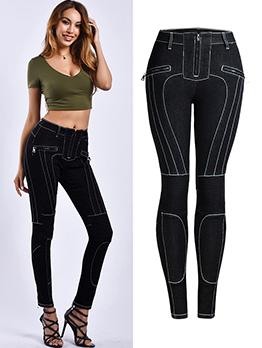 Contrast Color Stitches Zip Black Pencil Pants