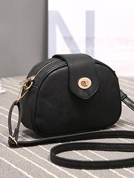 Korean Solid Color Hasp Shoulder Bag