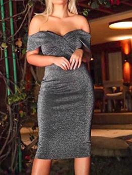 Stylish Bling Black Off The Shoulder Dresses