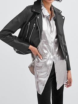Motorcycle Zipper Turndown Collar PU Jacket
