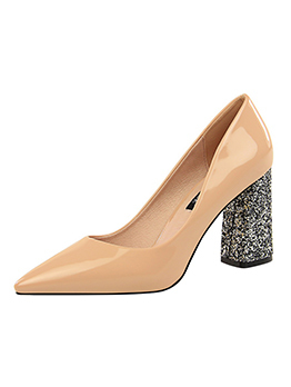 Euro Sequin Chunky Heel Pointed Shoes